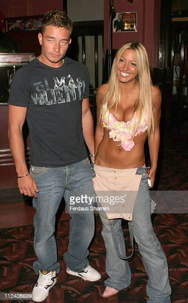 Jodie Marsh and guest during Jack Dee Live at The Apollo Arrivals at Apollo Hammersmith in London England Great Britain