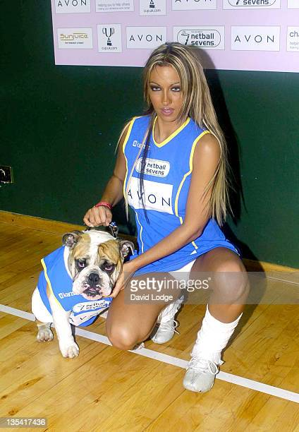 Jodie Marsh and her dog Maddie during The Celebrity Netball 7's at Crystal Palace Sports Centre in London Great Britain