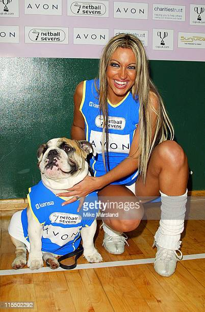 Jodie Marsh and her dog Maddie during The Celebrity Netball Sevens at National Sports Centre in London Great Britain