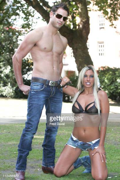 Jodie Marsh and Model during Jodie Marsh Promotes the Remington High Precision Body Hair Trimmer - August 8, 2005 at Soho Square in London, Great...