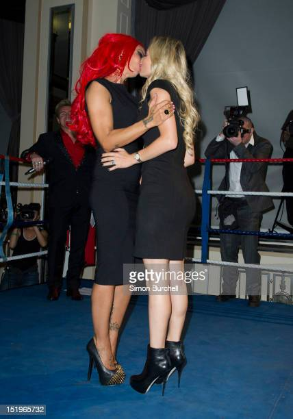 Jodie Marsh and Natasha Anastasia attend the Loaded Magazine female wrestling tournament Queen Of The Ring at Bloomsbury Ballroom on September 13...