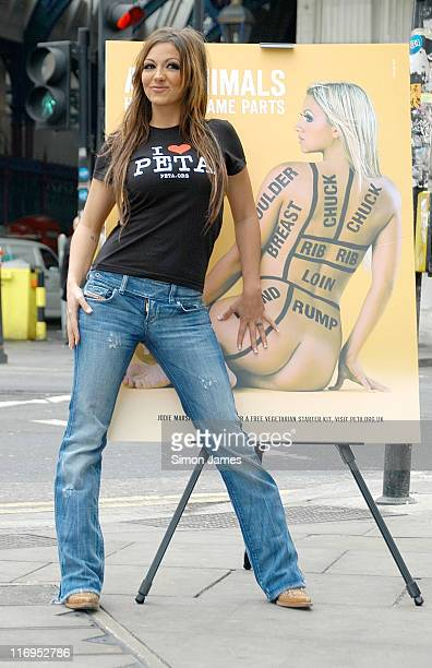 Jodie Marsh during 'Have a Heart' PETA Campaign Photocall at Smithfield Market in London Great Britain