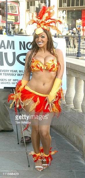 """Jodie Marsh during Jodie Marsh Unveils """"Say No to Nuggets"""" PETA Ad Campaign at Oxford Circus Tube station in London, Great Britain."""
