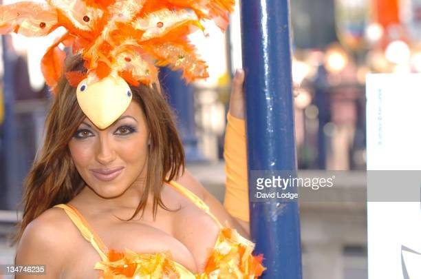 Jodie Marsh during Jodie Marsh Unveils Say No to Nuggets PETA Ad Campaign at Oxford Circus Tube Station in London Great Britain