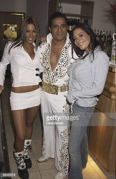 Jodie Marsh, Elvis Navarone and Lindsey Dawn McKenzie attend the RV2 Indian Restaurant Launch Party at RV2 on October 31, 2003 in London.