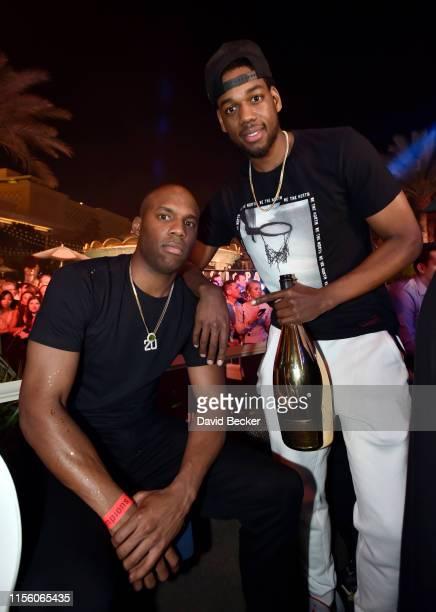 Jodie Meeks and Jordan Loyd of the Toronto Raptors celebrate their NBA championship at XS Nightclub at Wynn Las Vegas on June 14 2019 in Las Vegas...