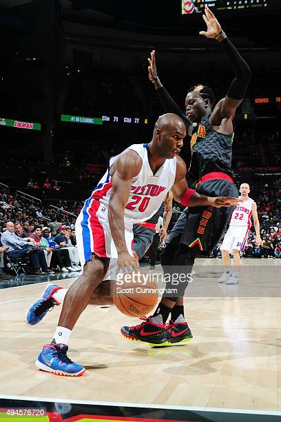 Jodie Meeks of the Detroit Pistons handles the ball against the Atlanta Hawks on October 27 2015 at Philips Center in Atlanta Georgia NOTE TO USER...