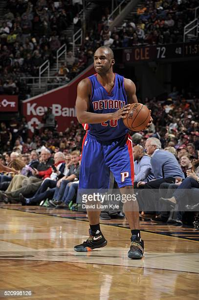 Jodie Meeks of the Detroit Pistons handles the ball against the Cleveland Cavaliers on April 13 2016 at Quicken Loans Arena in Cleveland Ohio NOTE TO...