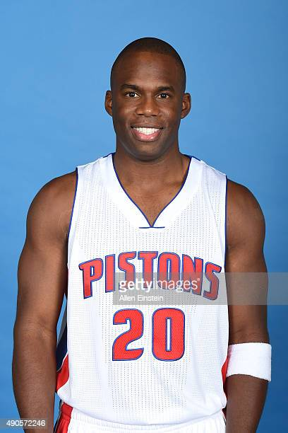 Jodie Meeks of the Detroit Pistons poses for a portrait during media day on September 28 2015 at The Palace of Auburn Hills in Auburn Hills Michigan...