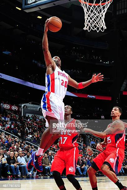Jodie Meeks of the Detroit Pistons puts up a shot against the Atlanta Hawks on January 19 2015 at Philips Arena in Atlanta Georgia NOTE TO USER User...