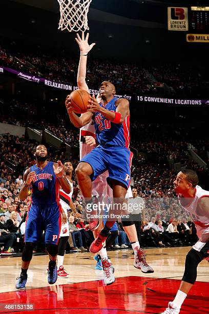 Jodie Meeks of the Detroit Pistons shoots against the Portland Trail Blazers on March 13 2015 at the Moda Center Arena in Portland Oregon NOTE TO...