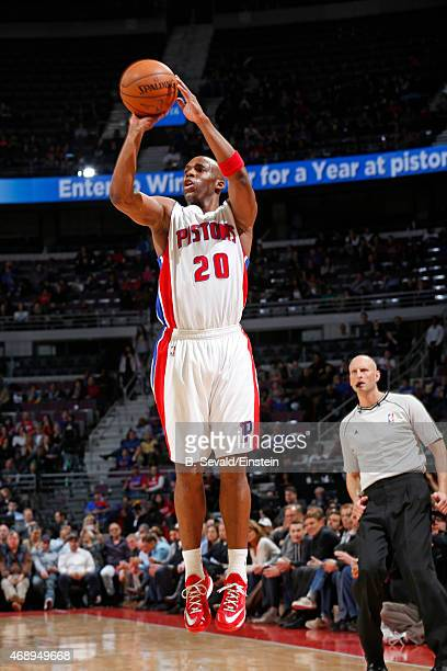 Jodie Meeks of the Detroit Pistons shoots the ball against the Boston Celtics on April 8 2015 at The Palace of Auburn Hills in Auburn Hills Michigan...