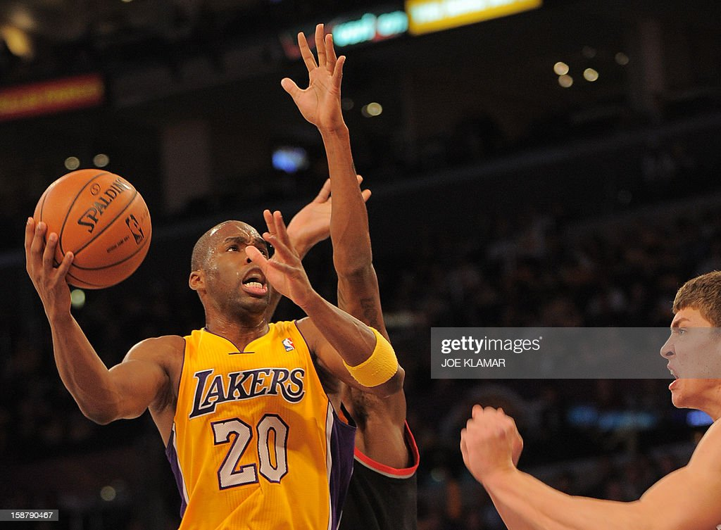 Jodie Meeks of the Los Angeles Lakers shots against the Portland Trail Blazers December 28, 2012 at Staples Center in Los Angeles, California. The Lakers rolled over the Blazers 104-87. AFP PHOTO / Joe KLAMAR