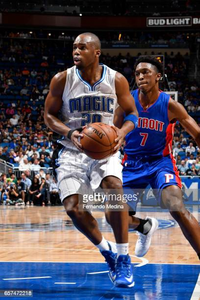 Jodie Meeks of the Orlando Magic drives to the basket against the Detroit Pistons on March 24 2017 at Amway Center in Orlando Florida NOTE TO USER...