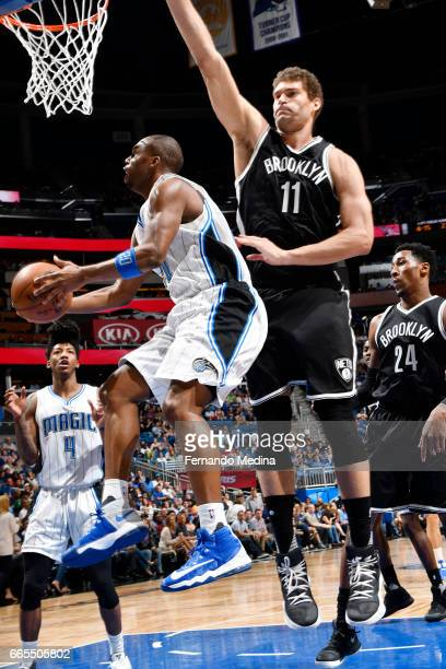 Jodie Meeks of the Orlando Magic goes for a lay up against the Brooklyn Nets during the game on April 6 2017 at Amway Center in Orlando Florida NOTE...
