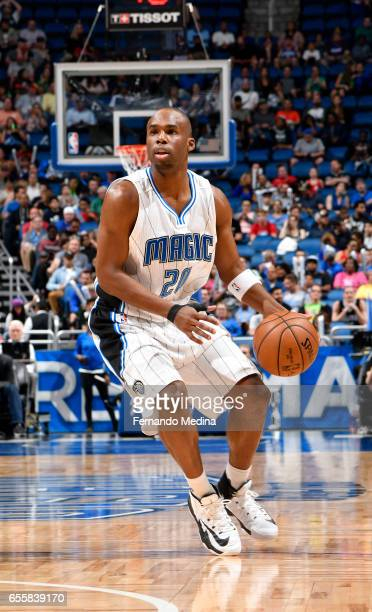 Jodie Meeks of the Orlando Magic handles the ball against the Philadelphia 76ers during the game on March 20 2017 at Amway Center in Orlando Florida...
