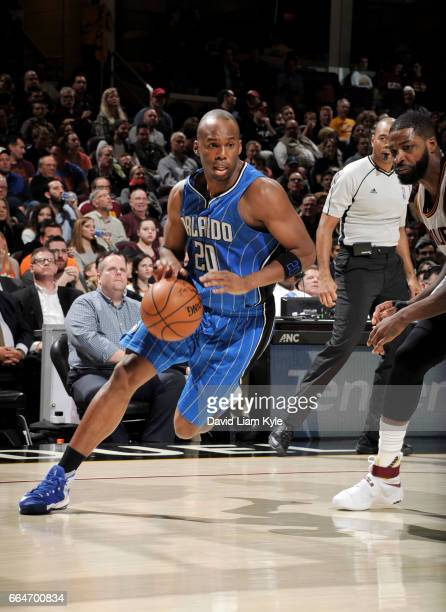 Jodie Meeks of the Orlando Magic handles the ball against the Cleveland Cavaliers during the game on April 4 2017 at Quicken Loans Arena in Cleveland...