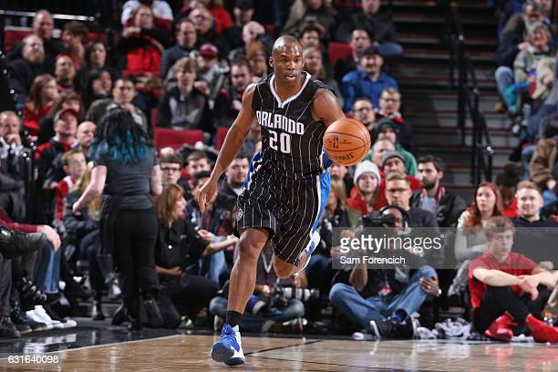 Jodie Meeks of the Orlando Magic handles the ball against the Portland Trail Blazers on January 13 2017 at the Moda Center in Portland Oregon NOTE TO...