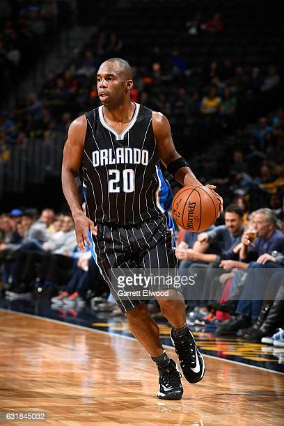 Jodie Meeks of the Orlando Magic handles the ball during the game against the Denver Nuggets on January 16 2017 at the Pepsi Center in Denver...