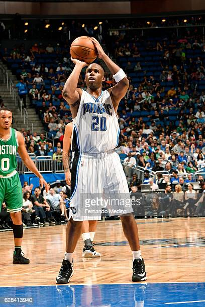 Jodie Meeks of the Orlando Magic shoots a free throw during the game against the Boston Celtics on December 7 2016 at Amway Center in Orlando Florida...