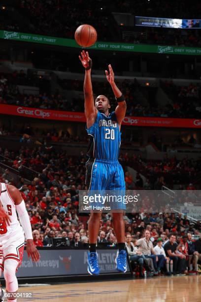 Jodie Meeks of the Orlando Magic shoots the ball during a game against the Chicago Bulls on April 10 2017 at the United Center in Chicago Illinois...