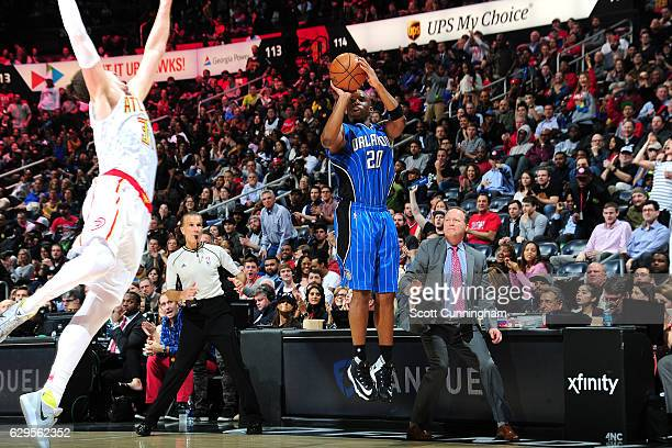 Jodie Meeks of the Orlando Magic shoots the ball during the game against the Atlanta Hawks on December 13 2016 at Philips Center in Atlanta Georgia...