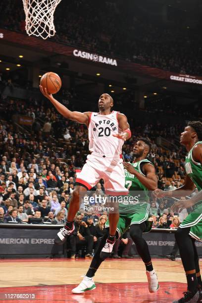 Jodie Meeks of the Toronto Raptors goes to the basket for a layup against the Boston Celtics on February 26 2019 at the Scotiabank Arena in Toronto...