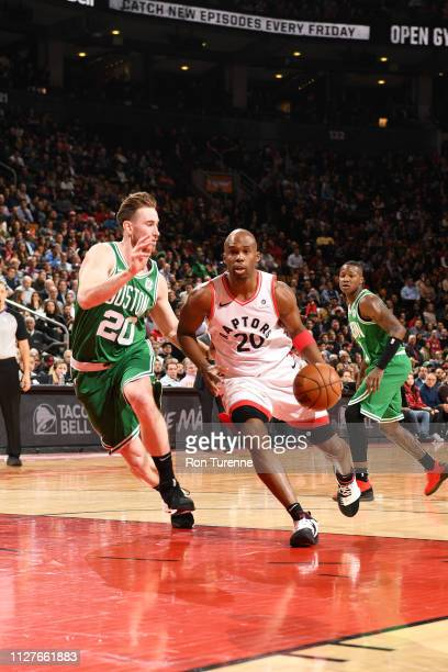 Jodie Meeks of the Toronto Raptors handles the ball against the Boston Celtics on February 26 2019 at the Scotiabank Arena in Toronto Ontario Canada...