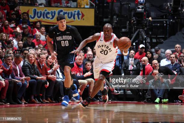 Jodie Meeks of the Toronto Raptors handles the ball against the Orlando Magic during Game Five of Round One of the 2019 NBA Playoffs on April 23 2019...