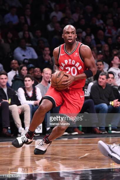 Jodie Meeks of the Toronto Raptors handles the ball during the game against the Brooklyn Nets at Barclays Center on April 3 2019 in the Brooklyn...