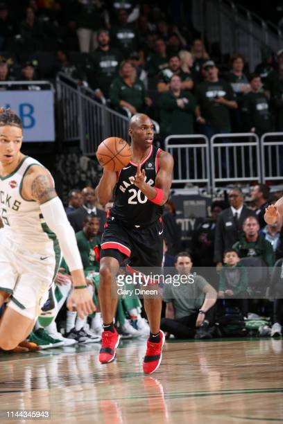 Jodie Meeks of the Toronto Raptors passes the ball against the Milwaukee Bucks during Game Two of the Eastern Conference Finals on May 17 2019 at the...