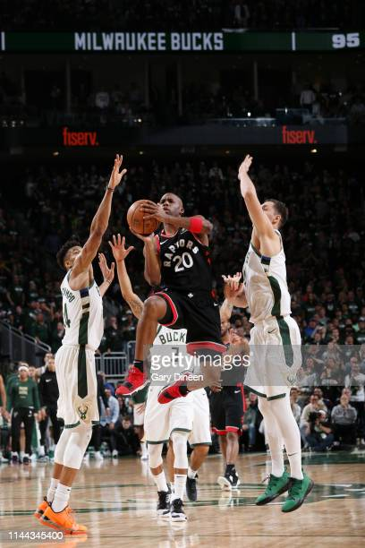 Jodie Meeks of the Toronto Raptors shoots the ball against the Milwaukee Bucks during Game Two of the Eastern Conference Finals on May 17 2019 at the...