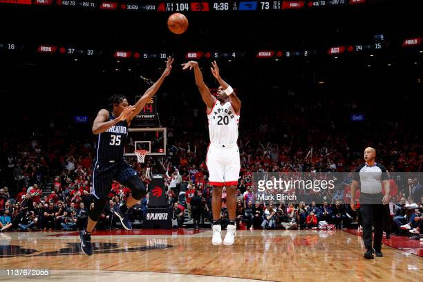 Jodie Meeks of the Toronto Raptors shoots the ball against the Orlando Magic during Game Two of Round One of the 2019 NBA Playoffs on April 16 2019...