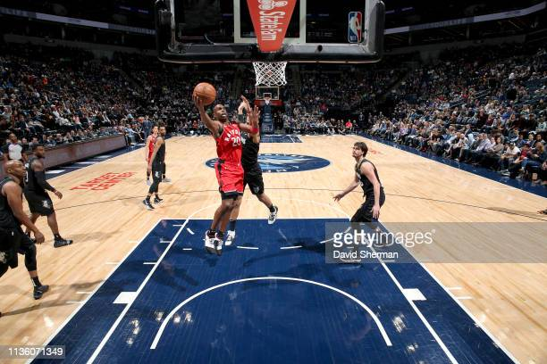 Jodie Meeks of the Toronto Raptors shoots the ball during the game against the Minnesota Timberwolves on April 9 2019 at Target Center in Minneapolis...