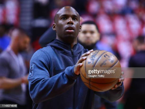 Jodie Meeks of the Toronto Raptors shoots the ball during warm up prior to Game Five of the first round of the 2019 NBA Playoffs against the Orlando...