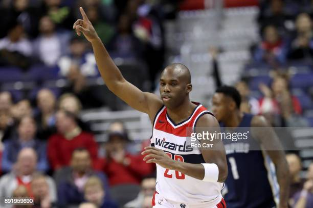 Jodie Meeks of the Washington Wizards celebrates after hitting a three pointer against the Memphis Grizzlies in the first half at Capital One Arena...