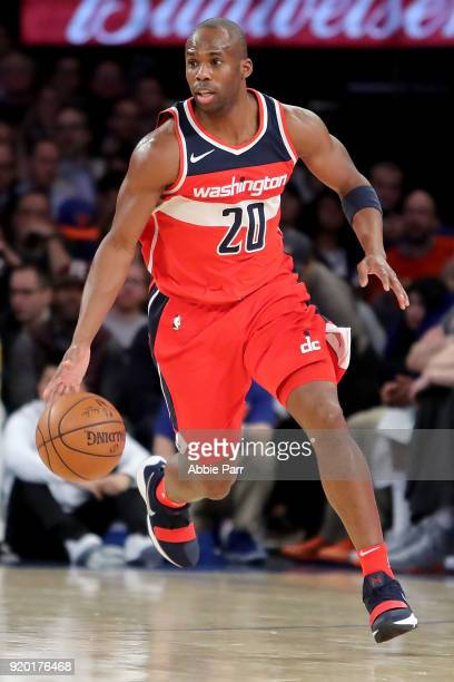 Jodie Meeks of the Washington Wizards dribbles down the court in the first half against the New York Knicks during their game at Madison Square...