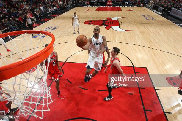 Jodie Meeks of the Washington Wizards goes to the basket against the Chicago Bulls on April 1 2018 at the United Center in Chicago Illinois NOTE TO...