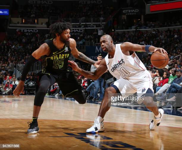 Jodie Meeks of the Washington Wizards handles the ball against DeAndre' Bembry of the Atlanta Hawks on April 6 2018 at Capital One Arena in...
