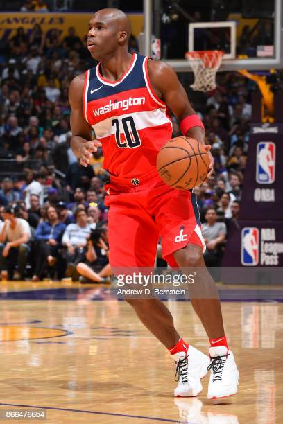 Jodie Meeks of the Washington Wizards handles the ball against the Los Angeles Lakers on October 25 2017 at STAPLES Center in Los Angeles California...