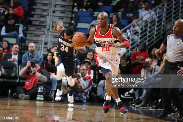Jodie Meeks of the Washington Wizards handles the ball against the New Orleans Pelicans on March 9 2018 at Smoothie King Center in New Orleans...