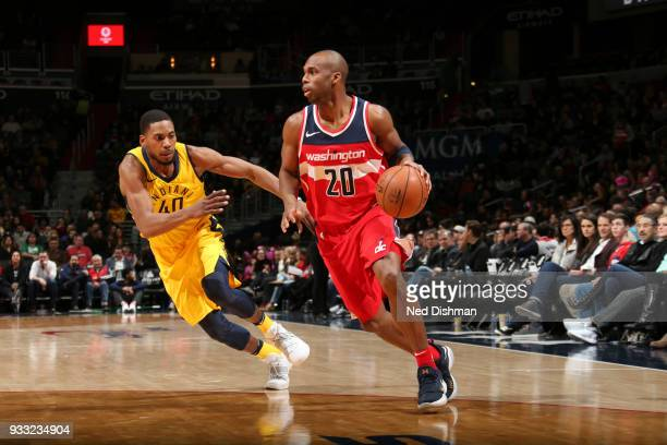 Jodie Meeks of the Washington Wizards handles the ball against the Indiana Pacers on March 17 2018 at Capital One Arena in Washington DC NOTE TO USER...