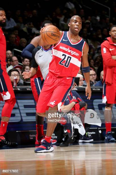 Jodie Meeks of the Washington Wizards handles the ball during the game against the LA Clippers on December 15 2017 at Capital One Arena in Washington...
