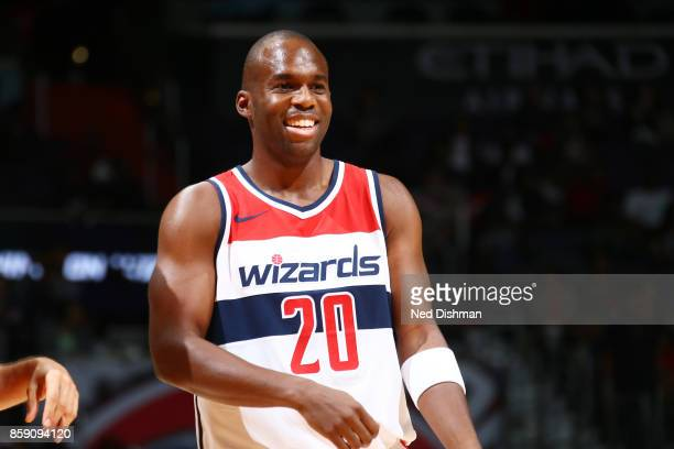 Jodie Meeks of the Washington Wizards reacts during the preseason game against the Cleveland Cavaliers on October 8 2017 at Capital One Arena in...