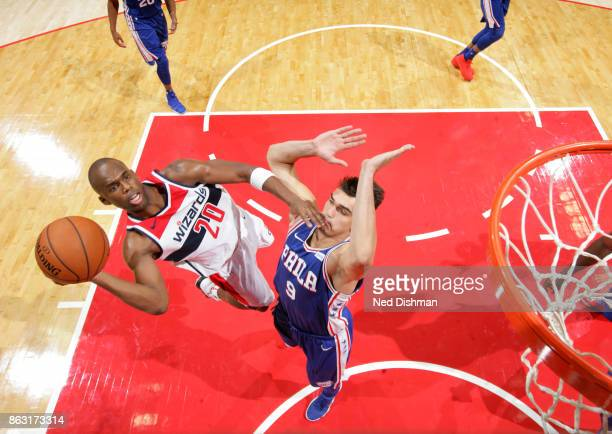 Jodie Meeks of the Washington Wizards shoots the ball against the Philadelphia 76ers on October 18 2017 at Capital One Arena in Washington DC NOTE TO...