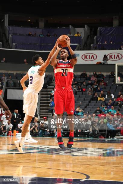 Jodie Meeks of the Washington Wizards shoots the ball against the Charlotte Hornets on January 17 2018 at Spectrum Center in Charlotte North Carolina...