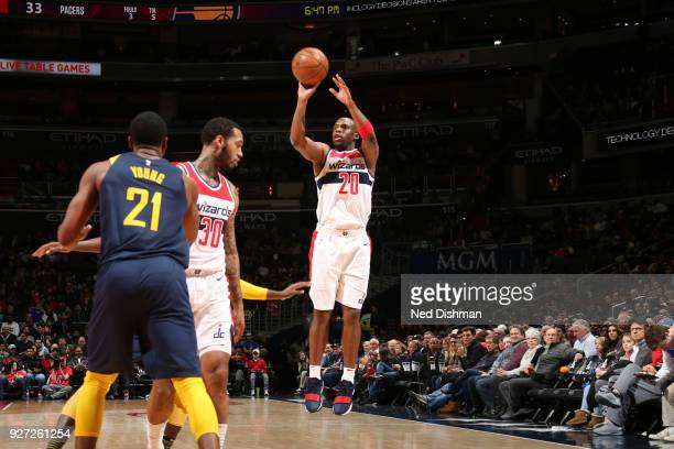 Jodie Meeks of the Washington Wizards shoots the ball against the Indiana Pacers on March 4 2018 at Capital One Arena in Washington DC NOTE TO USER...