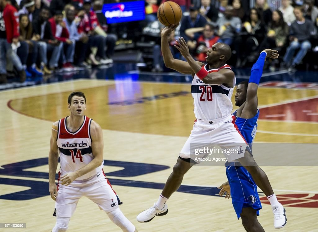 Jodie Meeks (20) of Washington Wizard in action during an NBA Game between Washington Wizard and Dallas Maverick at the Capitol One Arena in Washington, United States on November 07, 2017.