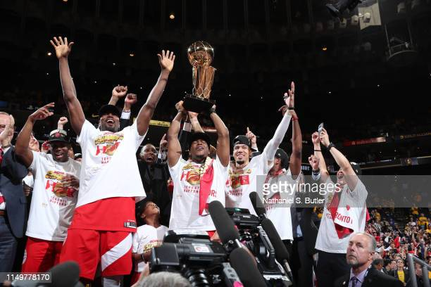 Jodie Meeks Serge Ibaka Kyle Lowry and Danny Green of the Toronto Raptors celebrate winning the NBA Championship after defeating the Golden State...
