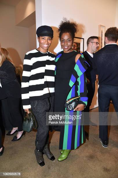 Jodie Patterson and Lorna Simpson attend Artists For Equality at Sean Kelly Gallery on October 22 2018 in New York City